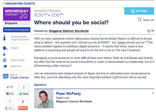 '#SMWSG' 'Social Media Week' 'Singapore' 'Where Should You be Social?' 'Peter McFeely' 'Waggener Edstrom'